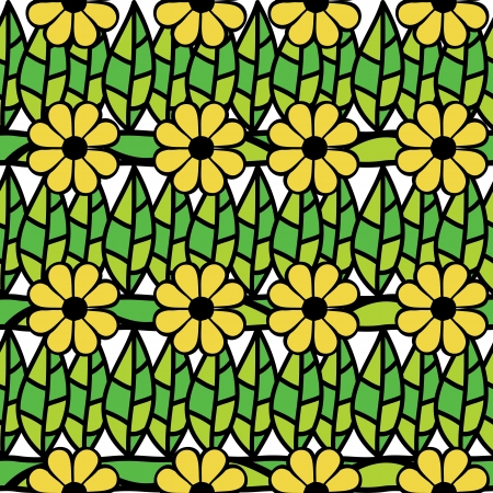 fabric art:  seamless pattern with green leaves and flowers