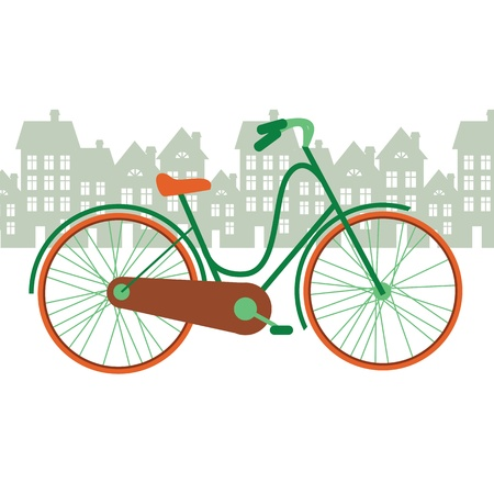 city bike: vector illustration of a bicycle in the city