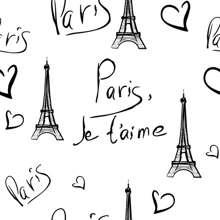 vector seamless pattern of Paris