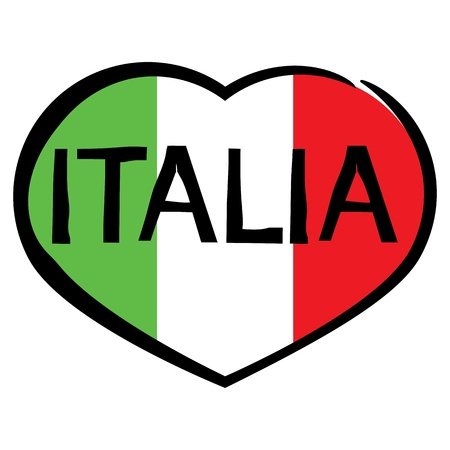 vector heart with the flag of Italy Vector