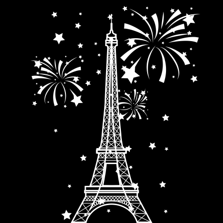 Vector Eiffel Tower and fireworks Vector