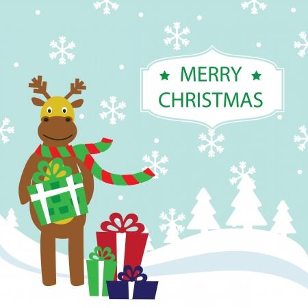 Merry Christmas card illustration Stock Vector - 19695677