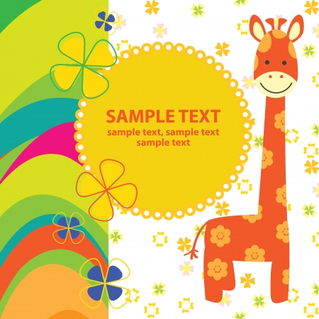 infant: vector baby card with giraffe
