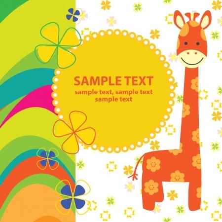 jirafa fondo blanco: Vector tarjeta de bebé con la jirafa