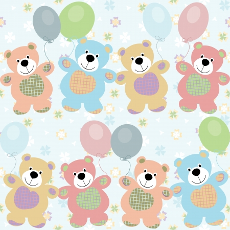 vintage teddy bears: vector seamless pattern with bears for baby