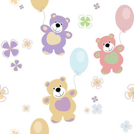 vintage teddy bears: vector seamless con gli orsi per il bambino Vettoriali