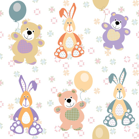 vintage teddy bears: vector seamless pattern with bears and rabbits for baby Illustration
