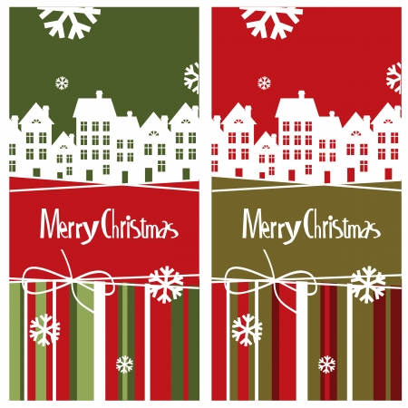 Vector Merry Christmas card with town Stock Vector - 24230693