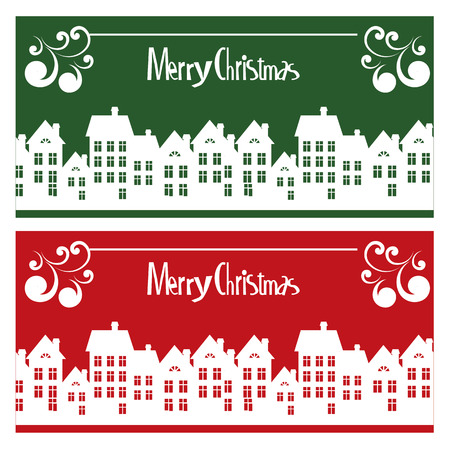 Vector Merry Christmas card with town Vector