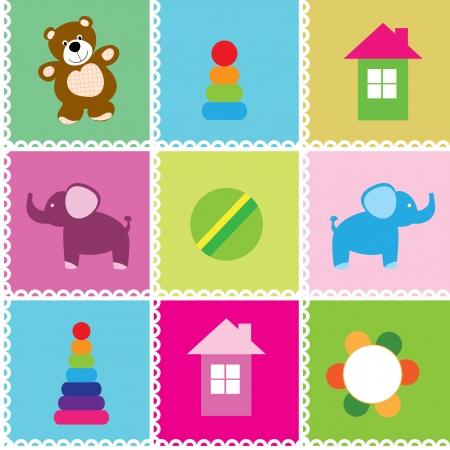 toy house: Seamless pattern toys illustration