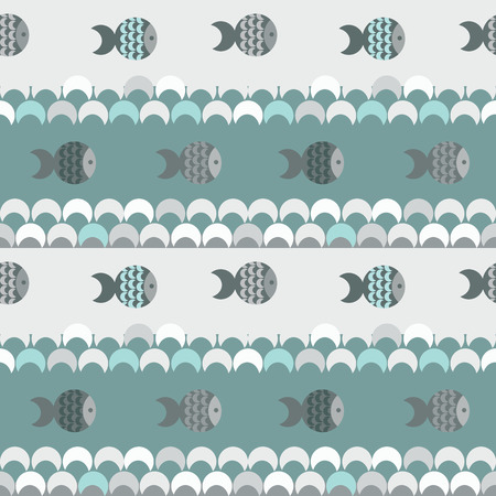 vector seamless abstract pattern texture, blue waves and fish Vector