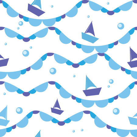 swims: Vector seamless pattern of sea waves and boats