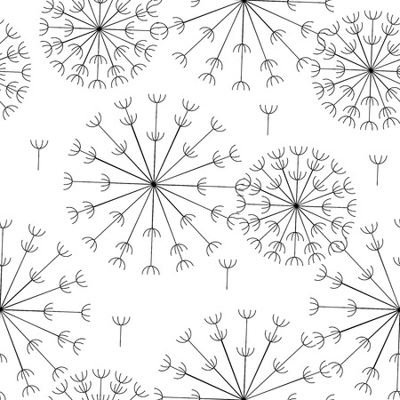 vector abstract seamless black and white pattern of dandelions Illustration