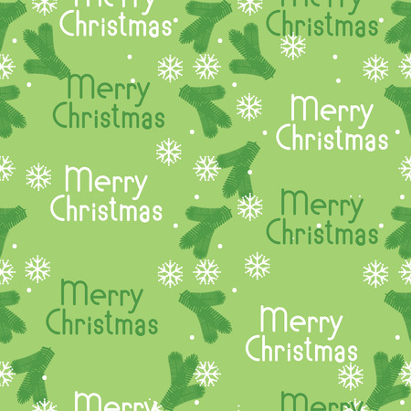 tree branches: vector seamless pattern Christmas tree branches and snowflakes