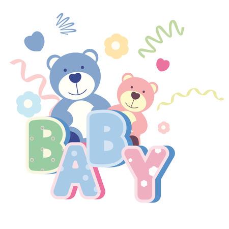 baby animal: vector banner with teddy bear