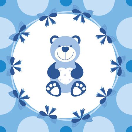 baby bear: vector baby blue banner with teddy bear Illustration