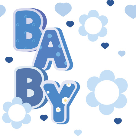 banni�re bleue: vector baby blue banner with flowers and hearts