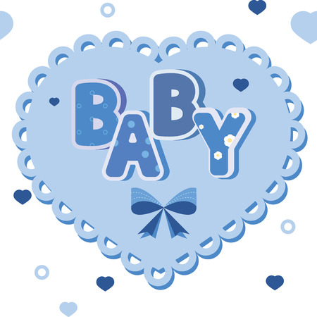 child birth: vector baby blue banner with hearts Illustration