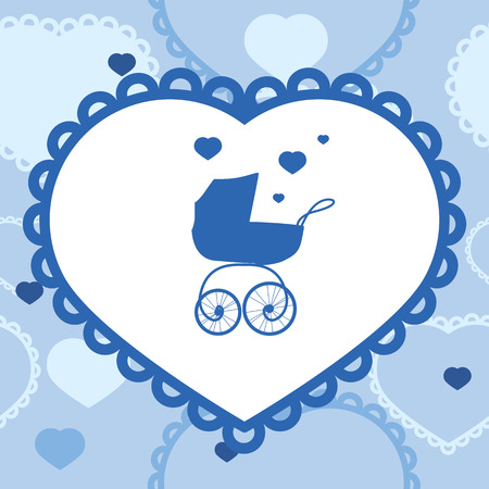 baby blue: vector banner with baby stroller