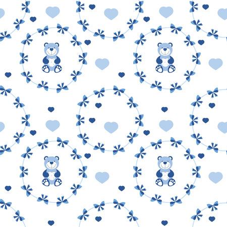 bebé vector sin patrón con arcos azules, corazones y osos de peluche