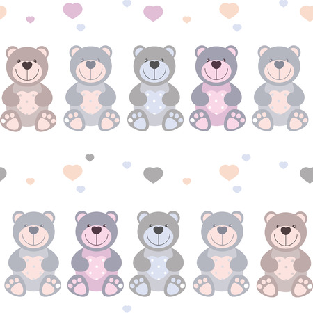 cute baby girl: vector seamless pattern toy teddy bears Illustration