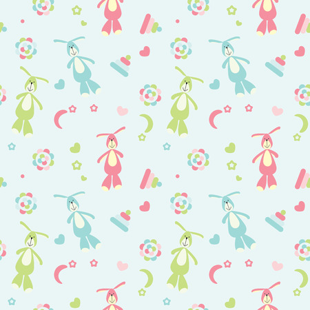 vector seamless baby pattern colored toys and bunnies