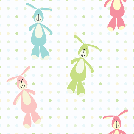 lapin: A vector seamless baby pattern with toy bunnies.