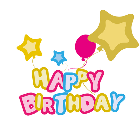 color vector banner with happy birthday, balloons