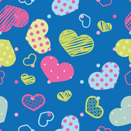 A seamless pattern of colored hearts. vector