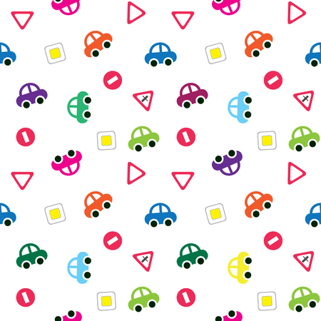 Children`s pattern background, toy cars and road signs vector seamless pattern. Illustration