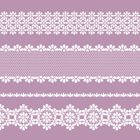 vector seamless lace braid, lilac and white color
