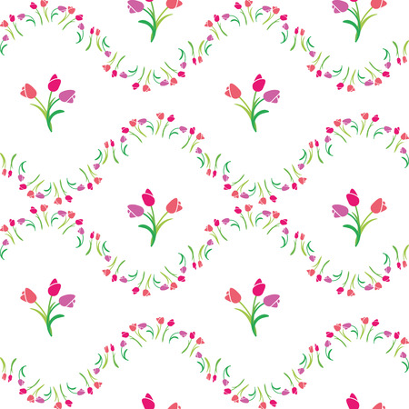 vector illustration seamless pattern tulips Stock Illustratie