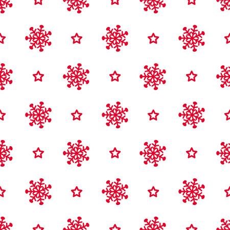 vector abstract christmas pattern with snowflakes and stars, red and white color