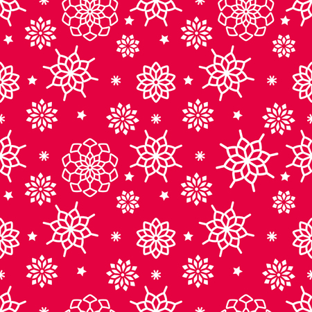 vector seamless snowflake pattern, red and white color