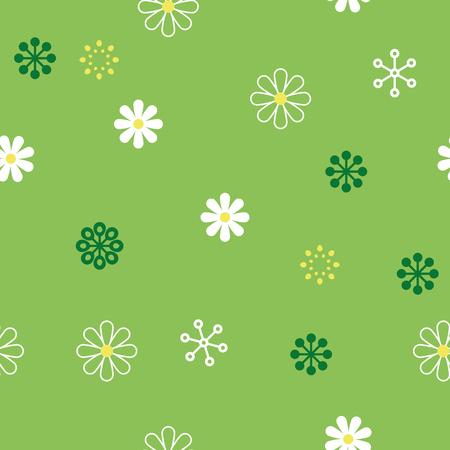 vector seamless repeating illustration vegetative chamomile pattern on green Illustration