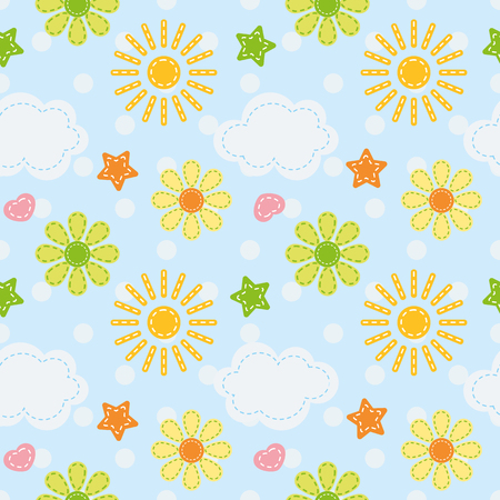 vector baby seamless pattern sun, clouds and flowers