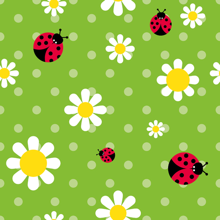 vector color seamless pattern flowers daisies and ladybugs