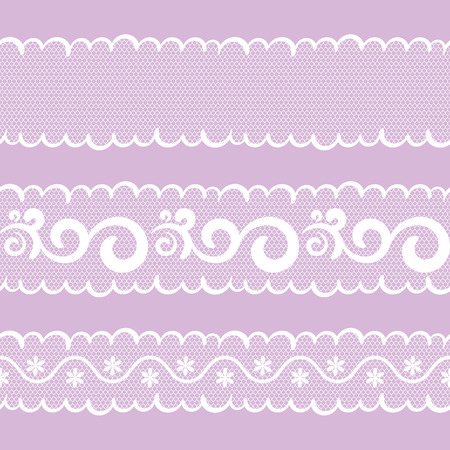 vector seamless pattern lacy ribbon, white and lilac color