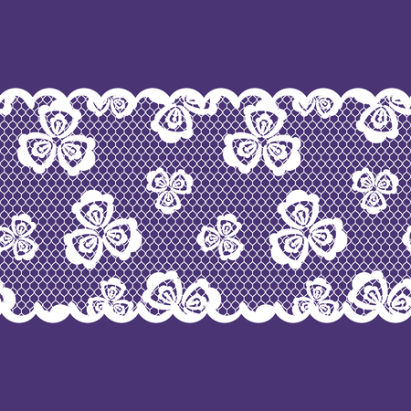 vector seamless pattern lacy ribbon, white and purple color