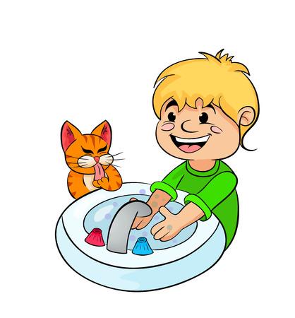lavamanos: muchacho adolescente se lava las manos con agua corriente Vectores