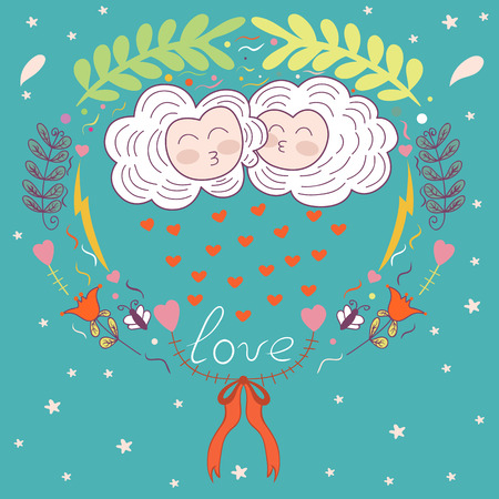 rain cartoon: vector postcard in the style of children. love. kissing clouds and floral ornament. heart.