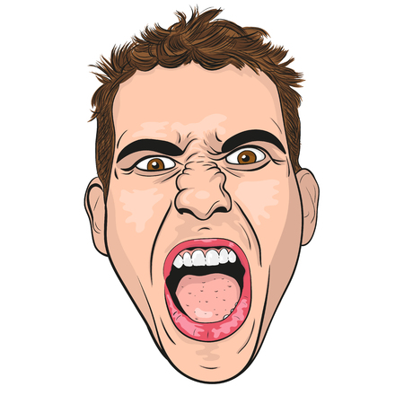 man illustration: vector head of a screaming angry young men. white background.