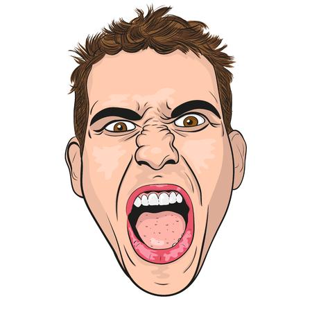viso di uomo: vettore testa di un urlanti giovani arrabbiati. sfondo bianco.