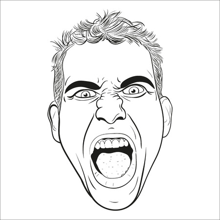 screaming head: vector head of a screaming angry young men. white background.