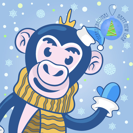 christmas cap: vector greeting card with Christmas and new year. a cute monkey in the Christmas cap, scarf and mittens waving a welcome with his paw on the background of snowflakes.