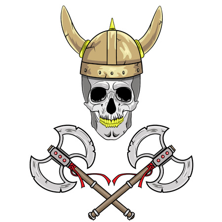axes: Skull Viking helmet with horns and two crossed axes.