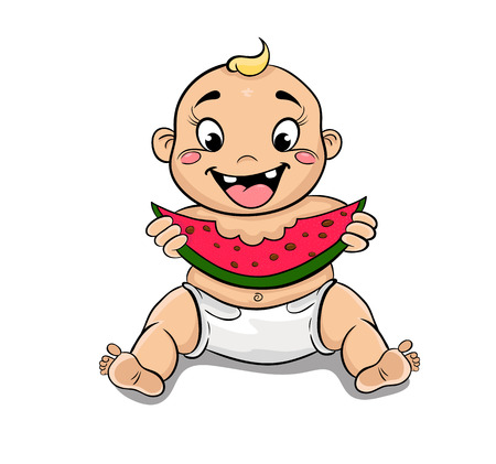 child sitting: cartoon happy child with watermelon in hand sitting on the floor