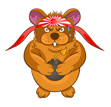 hamster: cartoon hamster kamikaze bomb in hands on white background Illustration