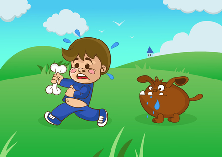 starving: Cartoon boy running away from a starving dog. vector