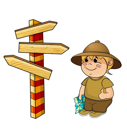 exploration: traveler with a map and pointer on white background Illustration